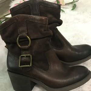 Lucky Brand Leather Buckle Accent Ankle Boots